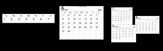 3ヶ月先カレンダー